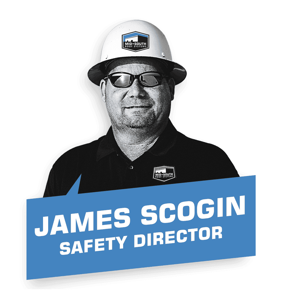 James Scogin, Mid-South Roof Systems' Safety Director wearing sunglasses and a hard hat